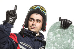 Male snowboarder with the board. On a white background Stock Images