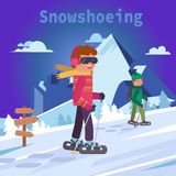 Men on mountain in snowshoes, flat vector illustration stock illustration