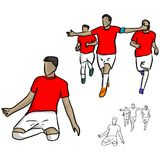Male soccer player in red jersey shirt celebrating a goal with h. Is team vector illustration sketch doodle hand drawn with black lines isolated on white Stock Photo