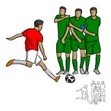 Male soccer player shooting a ball to the wall vector illustrati Royalty Free Stock Photo