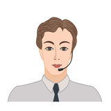 Male social profile. Avatar icon. Business call center label Stock Image