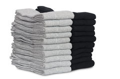 Male socks neatly folded in a pile. Isolated on a white Stock Images
