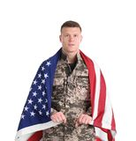 Male soldier with American flag on white background. Military service Royalty Free Stock Photo