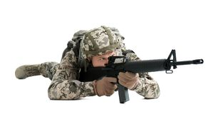 Male soldier with machine gun on white background. Military service Stock Photo