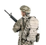 Male soldier with machine gun on white background. Military service Royalty Free Stock Photo