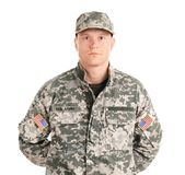 Male soldier on white background. Military service Stock Images