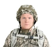 Male soldier on white background. Military service Royalty Free Stock Photos