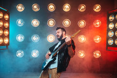 Male solo musican with electro guitar Royalty Free Stock Images