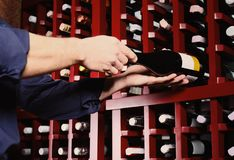 Male sommelier choosing wine. In cellar royalty free stock images