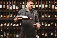 Male sommelier pouring red wine into long-stemmed wineglasses. Waiter with bottle of alcohol beverage. Bartender on background of shelves with bottles in royalty free stock photo