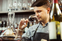 Male sommelier tasting red wine. At bar counter. Bottle of wine nearby. Professional expert appreciates quality of alcoholic beverage, degustation process Royalty Free Stock Photography