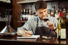 Male sommelier tasting red wine and making notes at bar counter. Bottle of wine nearby. Professional expert appreciates quality of alcoholic beverage Royalty Free Stock Images