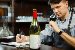 Male sommelier tasting red wine and making notes at bar counter. Bottle of wine nearby. Professional expert appreciates quality of alcoholic beverage Royalty Free Stock Photo