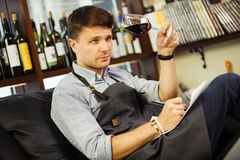Male sommelier tasting red wine and making notes. Profession in winemaking. Man waiter with long-stemmed wineglass sitting in chair and drinking alcohol Royalty Free Stock Images