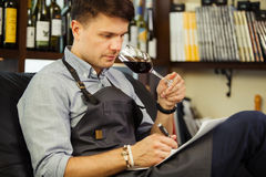 Male sommelier tasting red wine and making notes. Profession in winemaking. Man waiter with long-stemmed wineglass sitting in chair and drinking alcohol Stock Photo