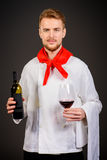 Male sommelier. Tasting red wine. Winemaking. Occupations stock image