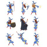 Male Sorcerer Practicing Wizardry Set, Wizard Character Wearing Blue Mantle with Stars and Pointed Hat Vector. Illustration on White Background royalty free illustration