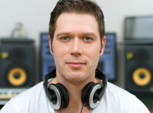 Male sound producer. Male sound producer in recording studio Royalty Free Stock Photos