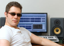 Male sound producer. Male sound producer in recording studio Stock Photos