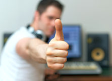 Male sound producer. Male sound producer with thumbs up Stock Image