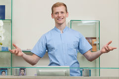 Male spa receptionist Royalty Free Stock Photo