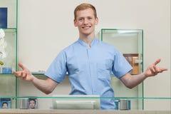 Male spa receptionnist royalty-vrije stock foto