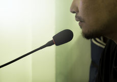 Male speech with microphone,The entertainer talking. With microphone Stock Photography