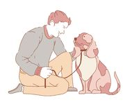 Male spending time with dog canine wearing collar. Vector domestic animal on leash purebred puppy friend to owner happy days with pet human loving canis royalty free illustration