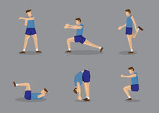 Male Sports Athlete in Blue Stretching and Warming Up. Sporty man in blue singlet and shorts doing stretches and warm-up exercises. Vector illustration set Royalty Free Stock Photo
