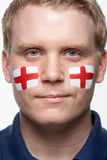 Male Sports Fan With St George's Flag Painted Stock Photography