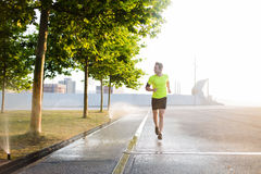 Male sports structure runs outdoors in sunny morning while using modern device. Young male jogger running on the road along beautiful green park while listen to Royalty Free Stock Photos
