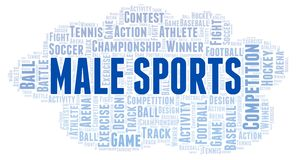 Male Sports word cloud. Wordcloud made with text only vector illustration