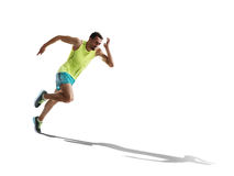 Male sprinter running on isolated background royalty free stock photography