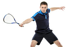 A male squash player playing Stock Photo