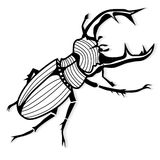 Male stag beetle, Lucanus cervus vector tattoo for T-shirts Stock Photography