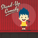Male stand up comedian cartoon character Royalty Free Stock Image