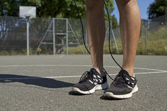 Male Standing with Jump Rope Royalty Free Stock Photos