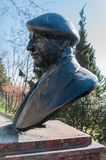 Male Statue Bust. Bronze bust statue of a male figure with beret Royalty Free Stock Image