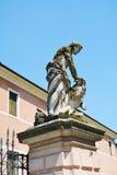Male statue with lion, villa Belvedere Stock Image