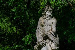Male stone figure. Old male stone figure in forest Royalty Free Stock Photo