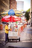 Male street vendor of hot dogs, New York, USA Stock Images