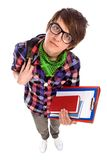 Male student. Holding books standing over white background Royalty Free Stock Photos