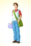 Male Student. Vector illustration of young male student with bag Stock Photography