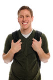 Male Student With Backpack. Portrait of young male student with backpack isolated over white background Stock Photo