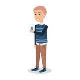Male student in a blue pullover standing with a mobile phone in his hands cartoon character vector Illustration Royalty Free Stock Image
