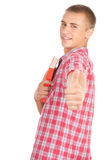 Male student with book and thumb up. Standing male student with book and thumb up, white background Royalty Free Stock Photography
