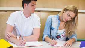 Male student cheating on his classmate. At the university Stock Photography