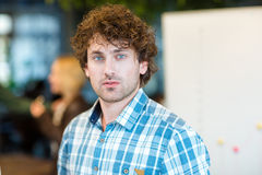 Male student with curly hair looking at camera Royalty Free Stock Photo