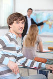 Student in a geography class Stock Image