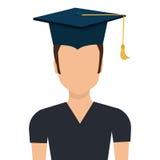 Male student graduation avatar profile. Stock Photo